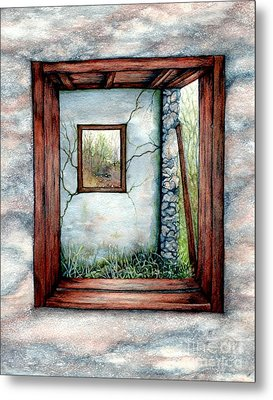 Barn Window Peering Through Time Metal Print by Janine Riley