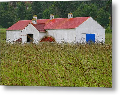 Barn With Blue Door Metal Print by Art Block Collections