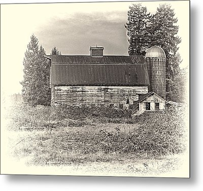 Barn With Silo Metal Print
