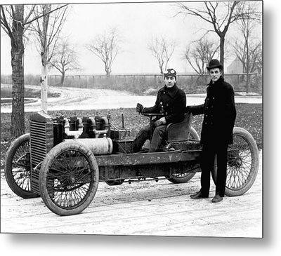 Barney Oldfield And Henry Ford Metal Print by Underwood Archives