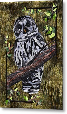Metal Print featuring the tapestry - textile Barney Whoo? by Jo Baner