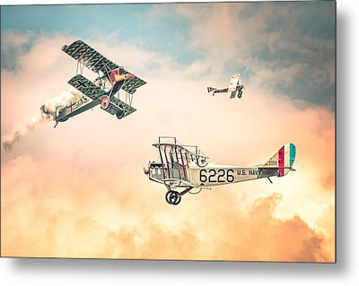 Barnstormers In The Golden Age Of Flight - Fokker D7 - Spad 7 - Curtiss Jenny Jn-4h Metal Print by Gary Heller
