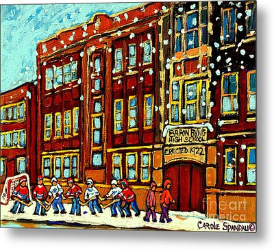 Baron Byng High School St Urbain Street Hockey Montreal Winter Scene Carole Spandau Montreal Artist Metal Print