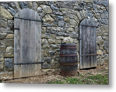Metal Print featuring the photograph Barrel And Barn Doors by Gene Walls