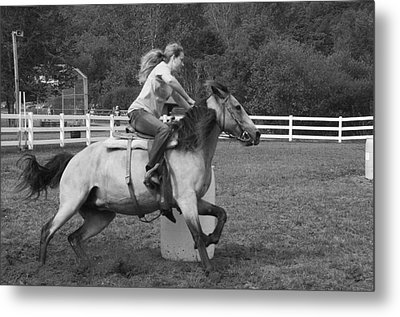 Metal Print featuring the photograph Barrel Racer by Paul Miller