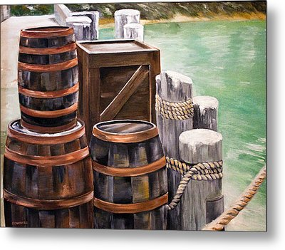 Metal Print featuring the painting Barrels On The Pier by Ellen Canfield
