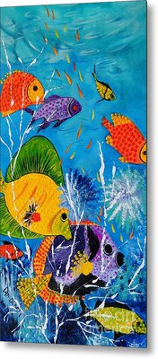 Metal Print featuring the painting Barrier Reef Fish by Lyn Olsen