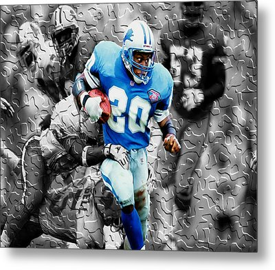 Barry Sanders Breaking Out Metal Print