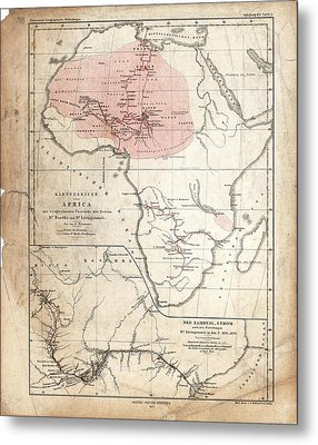 Barth And Livingstone's Africa Metal Print by Library Of Congress, Geography And Map Division