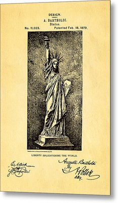 Bartholdi Statue Of Liberty Patent Art 1879 Metal Print