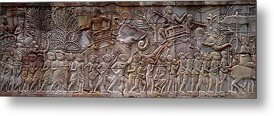 Bas Relief Angkor Wat Cambodia Metal Print by Panoramic Images