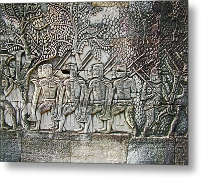 Bas-reliefs Of Khmer Soldiers In The Bayon Of Angkor Thom In Angkor Wat Archeological Park-cambodia Metal Print by Ruth Hager