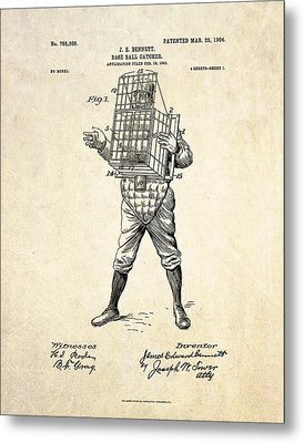 1904 Base Ball Catcher Patent Art Metal Print by Gary Bodnar