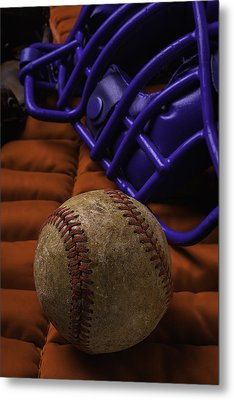 Baseball And Catchers Mask Metal Print by Garry Gay