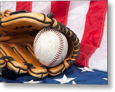 Baseball And Glove On American Flag Metal Print by Joe Belanger