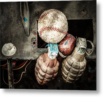 Baseball And Hand Grenades Metal Print by Gary Heller