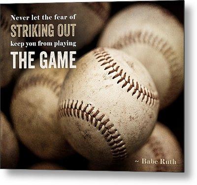Baseball Art Featuring Babe Ruth Quotation Metal Print