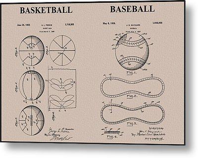 Baseball Basketball Patent Neutral Metal Print by Dan Sproul