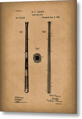 Baseball Bat 1885 Patent Art Brown Metal Print by Prior Art Design