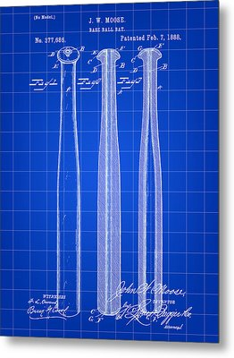 Baseball Bat Patent 1888 - Blue Metal Print by Stephen Younts