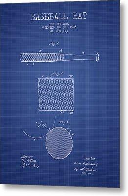 Baseball Bat Patent From 1908 - Blueprint Metal Print by Aged Pixel