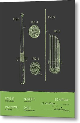 Baseball Bat Patent From 1921 - Gray Green Metal Print by Aged Pixel