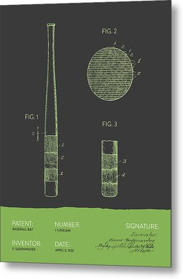 Baseball Bat Patent From 1923 - Gray Green Metal Print by Aged Pixel