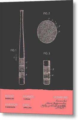 Baseball Bat Patent From 1923 - Gray Salmon Metal Print by Aged Pixel