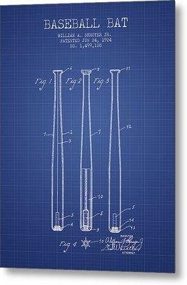 Baseball Bat Patent From 1924 - Blueprint Metal Print by Aged Pixel