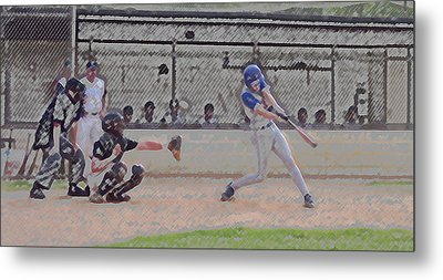 Baseball Batter Contact Digital Art Metal Print