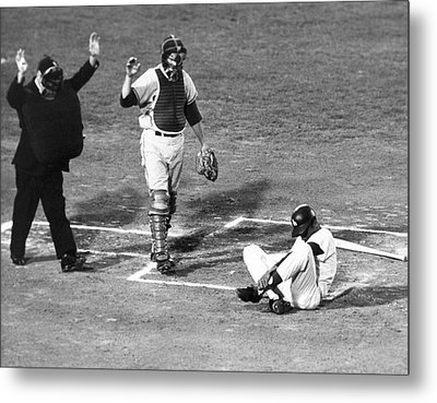 Baseball Batter Hit By Pitch Metal Print by Underwood Archives