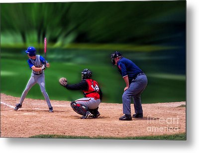 Baseball Batter Up Metal Print by Thomas Woolworth