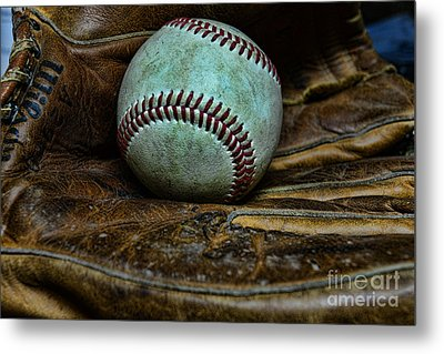 Baseball Broken In Metal Print