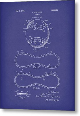 Baseball By Maynard 1928 Patent Art Blue Metal Print by Prior Art Design