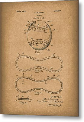 Baseball By Maynard 1928 Patent Art Brown Metal Print by Prior Art Design