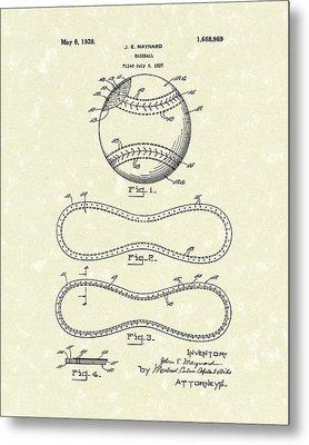 Baseball By Maynard 1928 Patent Art Metal Print