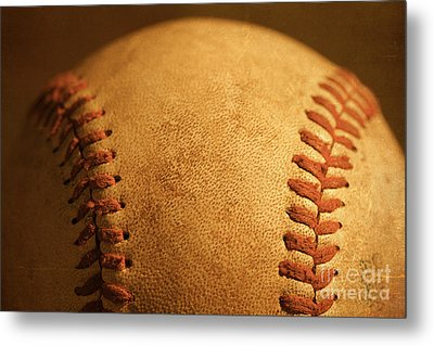 Baseball Closeup Showing Stitches And Seams With Dirt Metal Print by ELITE IMAGE photography By Chad McDermott