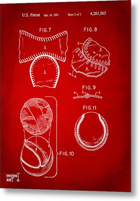 Baseball Construction Patent 2 - Red Metal Print by Nikki Marie Smith