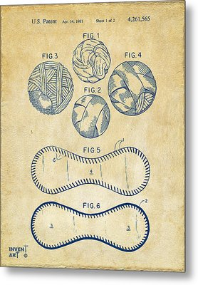 Baseball Construction Patent - Vintage Metal Print by Nikki Marie Smith