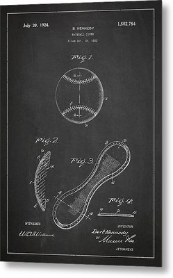 Baseball Cover Patent Drawing From 1923 Metal Print