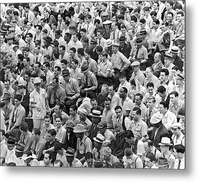Baseball Fans In The Bleachers At Yankee Stadium. Metal Print