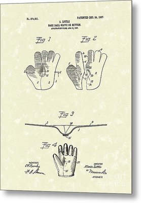 Baseball Glove 1907 Patent Art Metal Print by Prior Art Design
