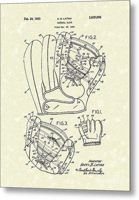 Baseball Glove 1953 Patent Art Metal Print by Prior Art Design