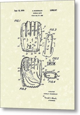 Baseball Glove 1970 Patent Art Metal Print by Prior Art Design