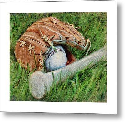Baseball Glove Bat And Ball Metal Print by Craig Tinder