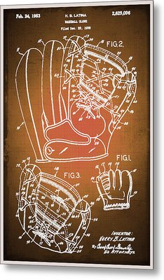 Baseball Glove Patent Blueprint Drawing Sepia Metal Print