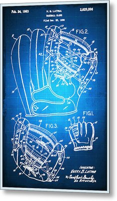 Baseball Glove Patent Blueprint Drawing Metal Print