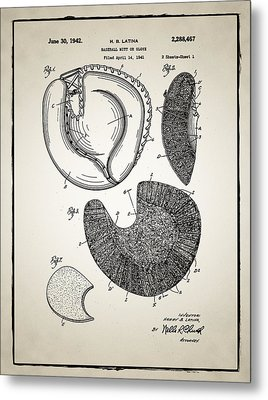 Baseball Glove Patent Metal Print by Bill Cannon