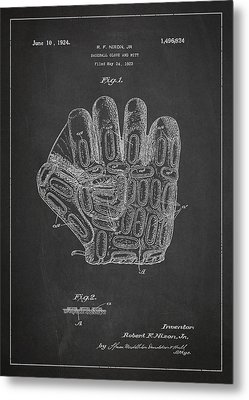 Baseball Glove Patent Drawing From 1923 Metal Print