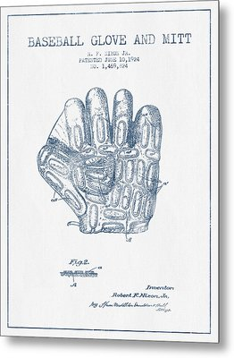 Baseball Glove Patent Drawing From 1924 - Blue Ink Metal Print